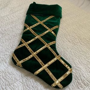 Other - Christmas Stocking Dark Green Velvet Gold Sequin